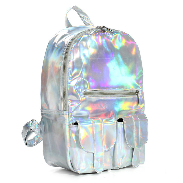 Fashion Hologram Backpack Women Holographic Transparent Backpacks For  Teenagers Sac a Dos School Bags Men's Travel Rucksack