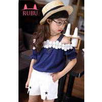 2017 New Summer Girl Clothes Set Square Collar Star Pattern Fashion Style Children Clothing Kids Clothes
