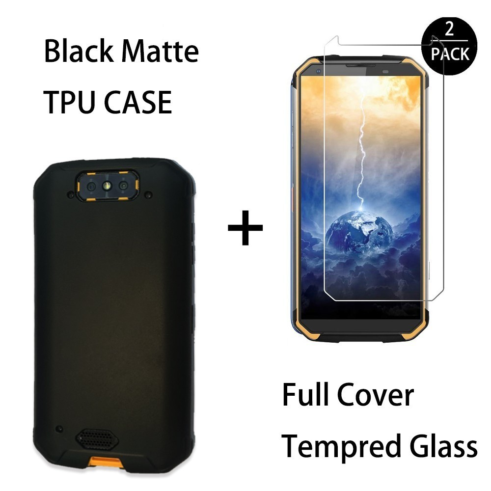 0 3MM 2 5D Clear Tempered Glass Screen Protector For Blackview Bv9500 Pro Matte Black TPU Back Cover CaseFor Blackview Bv9500 in Fitted Cases from Cellphones Telecommunications