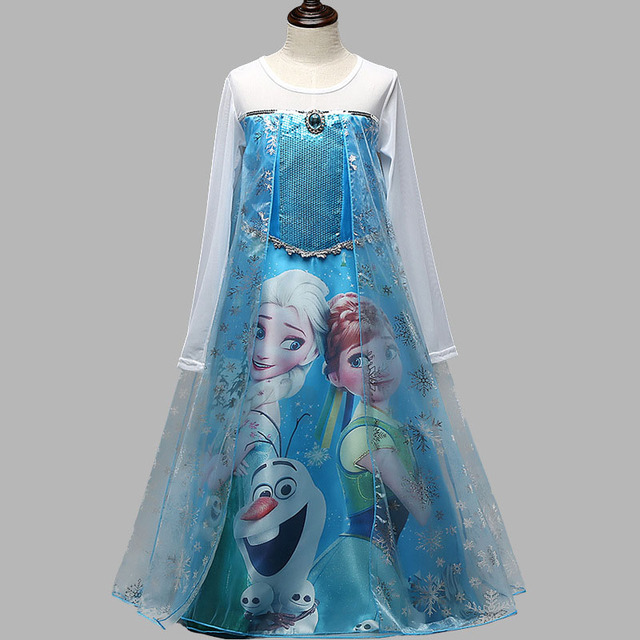 Fashion New Elsa Anna Custom Longer Style Dress For Girls  Dress Kids Princess Girl Baby Party Children Party Cloth Gift Dresses