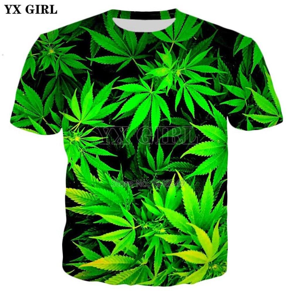 YX GIRL 2018 summer New   t  -  shirt   Fashion Men/Women   t     shirts   Green weed Print Harajuku Casual Cool   T     shirts