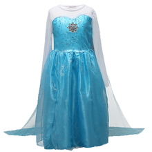 AmzBarley Girls Elsa Princess Dress Long Snow Queen Elsa Costumes kids Halloween Party Cosplay Children Lace Voile Dresses