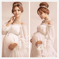 2016 new white pregnant long women dresses maternity Photography Props Pregnancy maternity photo shoot long dress Nightdress