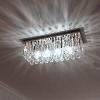 Home Rectangular Clear K9 Crystal Light Led Porch Ceiling Lamp Dining Room Kitchen Lights Modern Ceiling