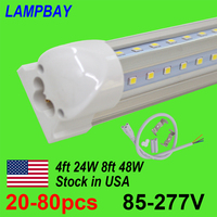 20 80pcs LED Tube Lights 4ft 8ft V Shaped Bar Lighting T8 Integrated Bulb Fixture Super Bright Daylight Shop Cooler Lamp