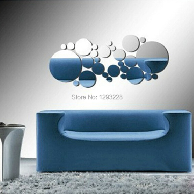 1set fashion removable home diy decoration silver round mirror wall decals stickers art decor yatx