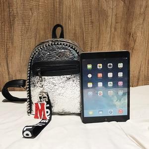 Женский кожаный мини-рюкзак NIGEDU, черный/серебристый/Дорожный/Модный/женский/студенческий рюкзак, 2019