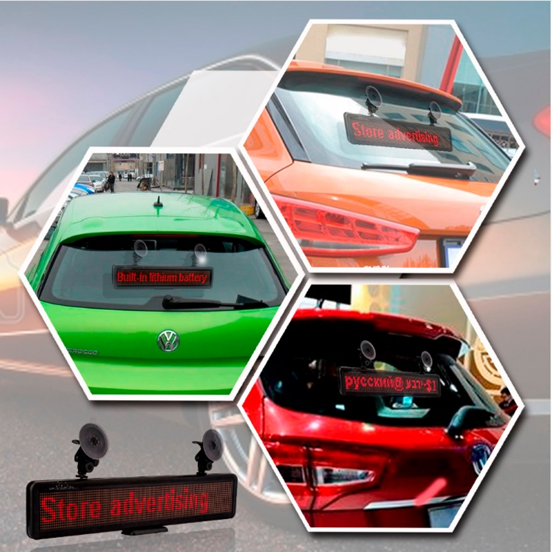 LED Car Advertising Display LED Scrolling Display Board Programmable Rechargable Support Any Languages For Commercial Lighting rechargeable led car sign pixel 16 128 rgy programmable message display module panel high bright led light for car advertising
