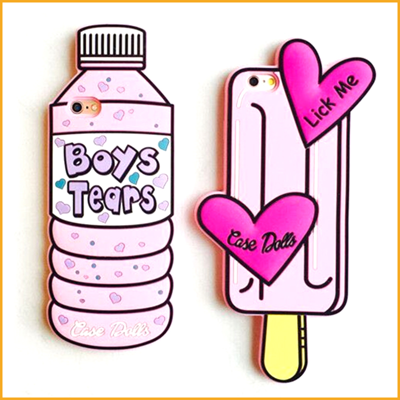 3D Cartoon Pink Popsicles Water Bottle Cases For iphone 6S 6 Plus Soft Silicone Cellphone Bag Boys Tears Ice-Cream Capa XY3645