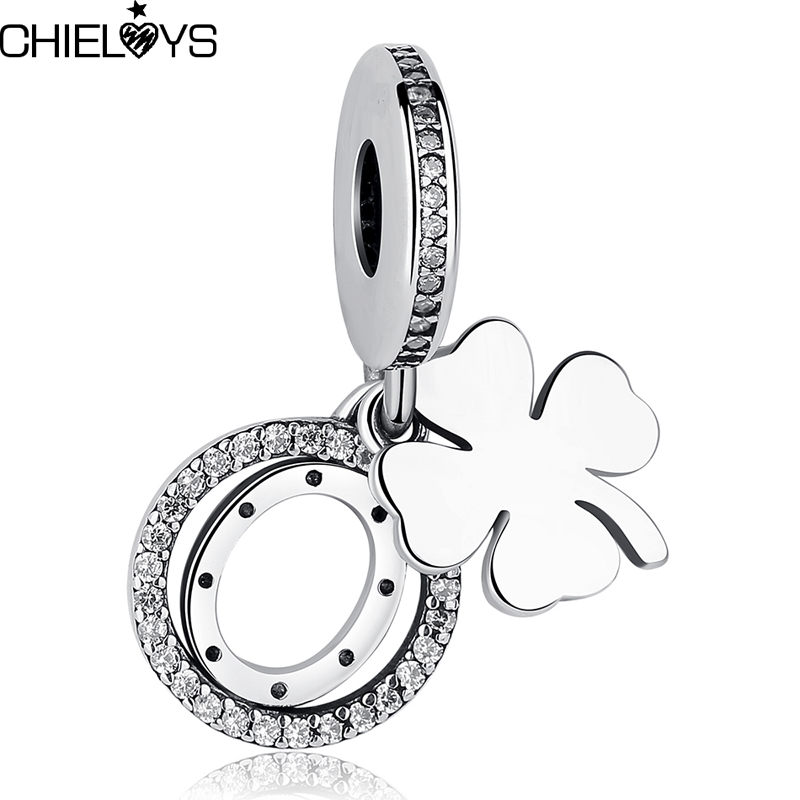 CHIELOYS 2pcs/lot a four-leaf clover and a stone-studded horsesho Charm Pendant Fit Pandora Charm Bracelet Jewelry BE052