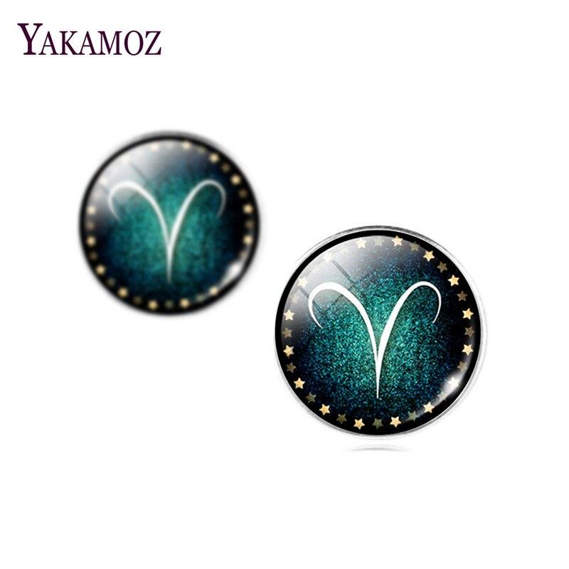 2017 Fashion Brand Earrings For Women Zodiac Glass Cabochon Stud Earrings Jewelry Silver Plated Love Ear Studs Jewelry Sale