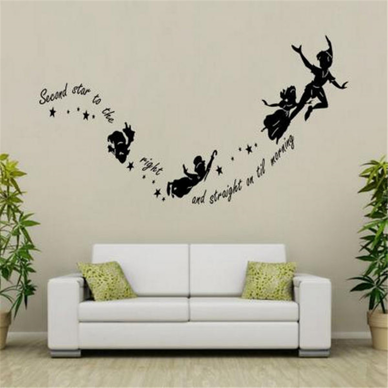 tinkerbell second star to the right peter pan home wall decal sticker children kids vinyl art. Black Bedroom Furniture Sets. Home Design Ideas