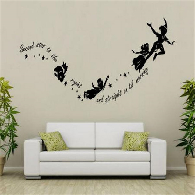 Tinkerbell Second Star To The Right Peter Pan Home Wall Decal Sticker Children Kids Vinyl Art Mural PVC Wall Stickers Room Decor