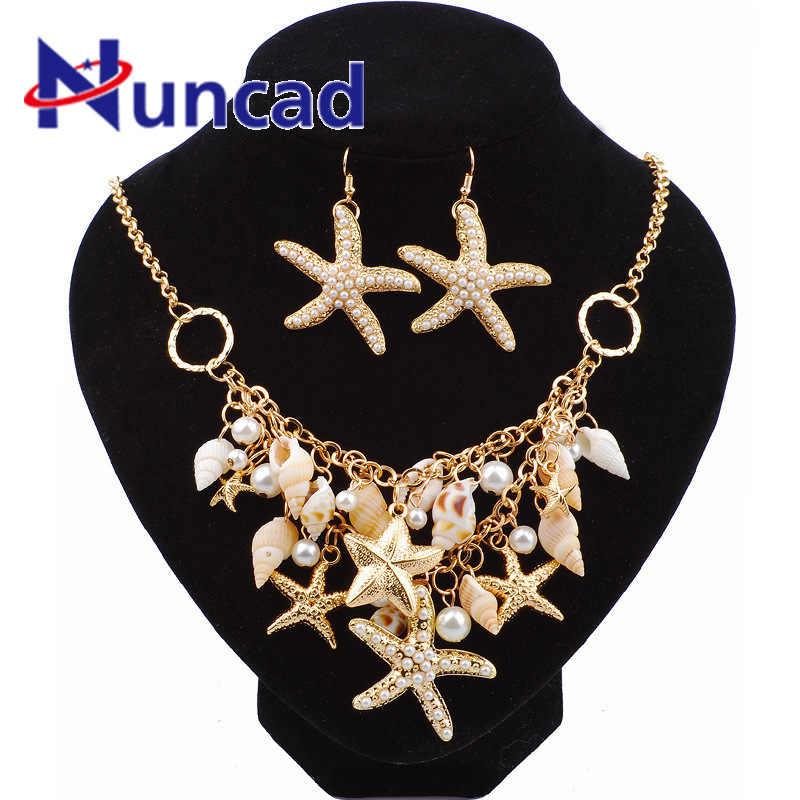 2018 New Arrival Summer Sandy Beach Ocean Ornaments Starfish Shell Earrings Necklace Bracelet Set Pearl Pendant Necklace