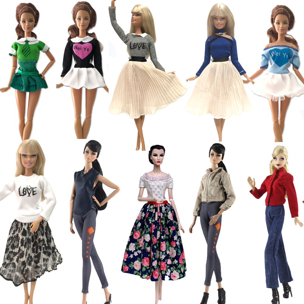 NK Mix Style  Princess Doll Handmade Colthes Fashion Dress Lady Cool Outfit For Barbie Doll Accessories Baby Toys JJ
