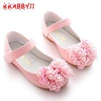 KKABBYII בנות נעלי ילדים נעלי חתונה קשת פניני אופנה חדש עבור תינוק של בנות לילדים סנדלי נסיכת גודל לבן ורוד 26-36