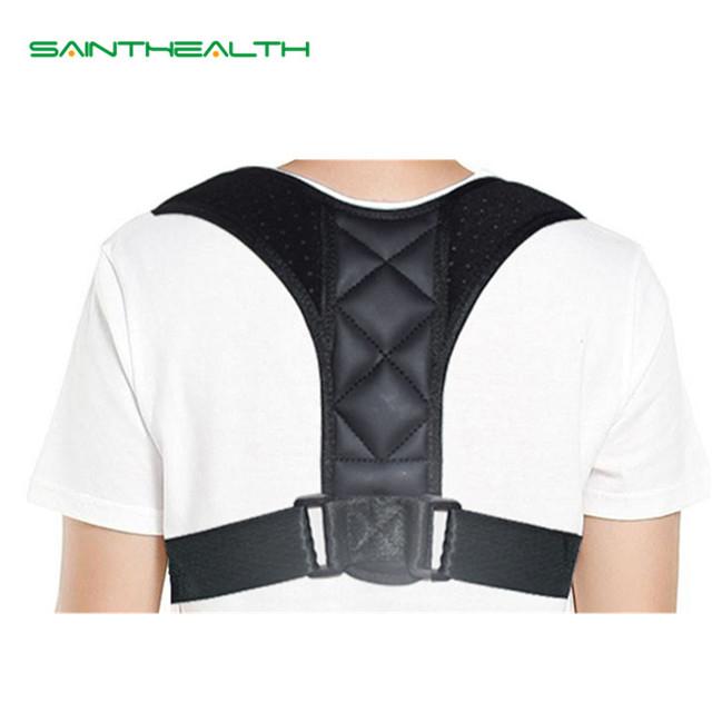 Ajustable clavícula Corrector de postura UNISEX la parte superior de la espalda hombro soporte Lumbar apoyo cinturón corsé postura Corrección