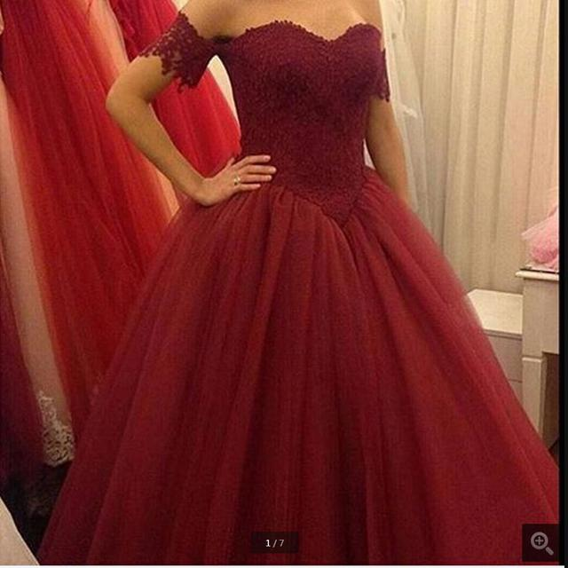 42b95d7ca4 Burgundy Lace Appliques Ball Gown Cheap Prom Dresses 2016 Dark Red Off The  Shoulder Short Sleeves Long prom gowns