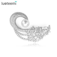 LUOTEEMI Wholesale Luxury Crystal CZ Swan Brooch for Elegant Lady Wedding Dress Accessories Jewelry Free Shipping