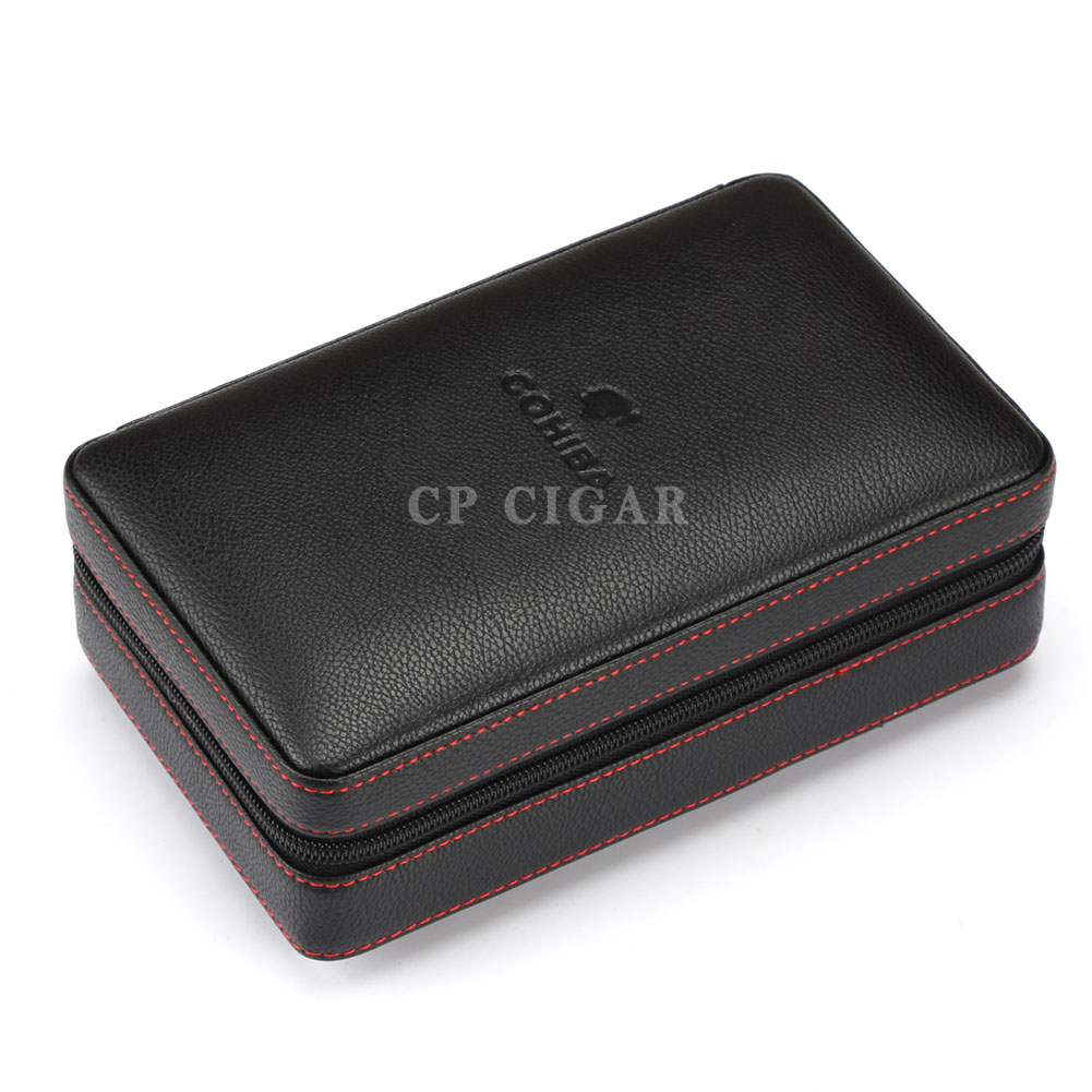 COHIBA Leather Cigar Case Cedar Wood Cigar Travel Humidor with Lighter Cutter Humidifier 1