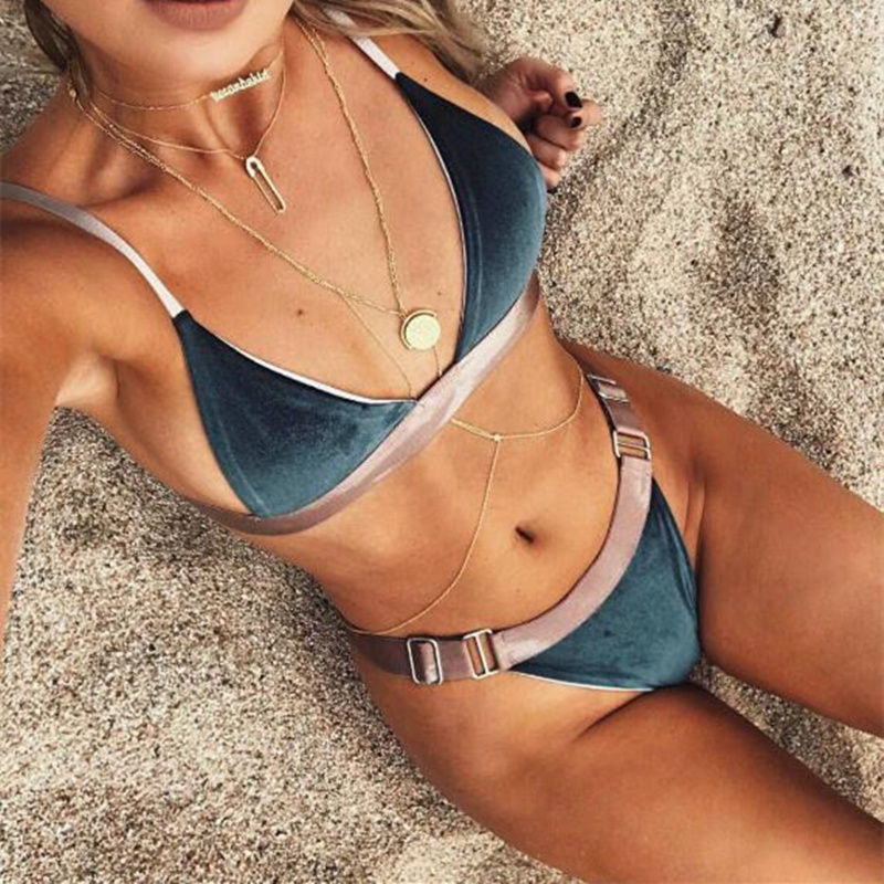 2018 New VELVET Bikini Women Swimsuit Swimwear Bandage Cut Out Brazilian Bikini Set Solid Summer Beach Bathing Suit Biquini hwsexy women s back tie mesh bikini set swimwear bra bottom beach swimsuit moda praia feminina brazilian biquini new brand