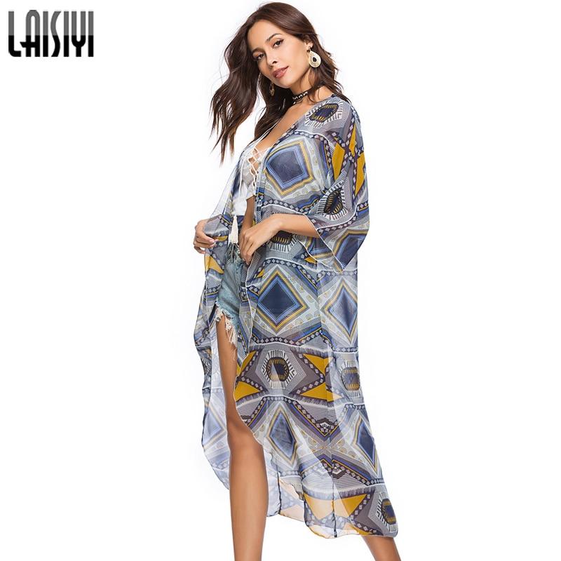 Aliexpress.com   Buy LAISIYI Bohemian Geometric Print Chiffon Blouse Women  Beach Casual Long Shirts 3 4 Quarter Sleeve Blusas Boho Summer ASBL20278  from ... 837b88c40852