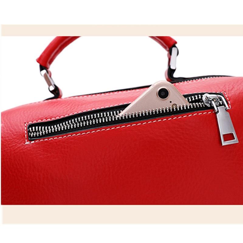 Первый слой кожаной сумки Бостон Женская сумка мессенджер кожаная сумка с кисточками на ремне съемный индивидуальный кошелек - 4