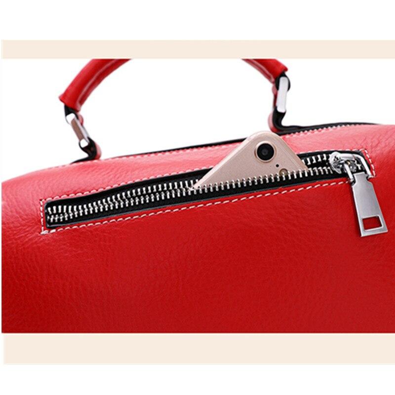 The First Layer of Leather Boston Bag Female Messenger Bag Leather Handbag Tassel Shoulder Bag strap removable personality purse - 4
