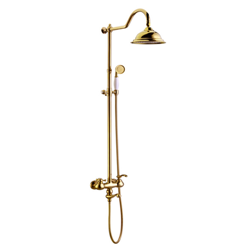 wholesale premium solid brass luxurious exposed golden bathroom shower fixture bath mixer faucet tap