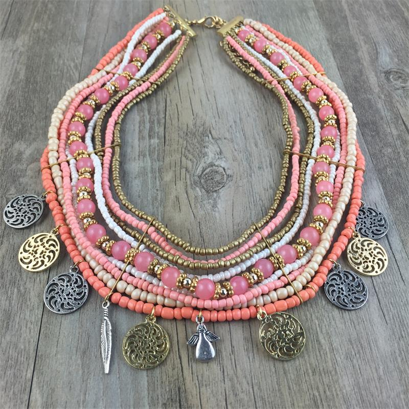Fashion Bohemian Style Pink Color Glass Seed Bead Necklaces & Pendants Multilayer Braided Bead Choker Necklace for Women