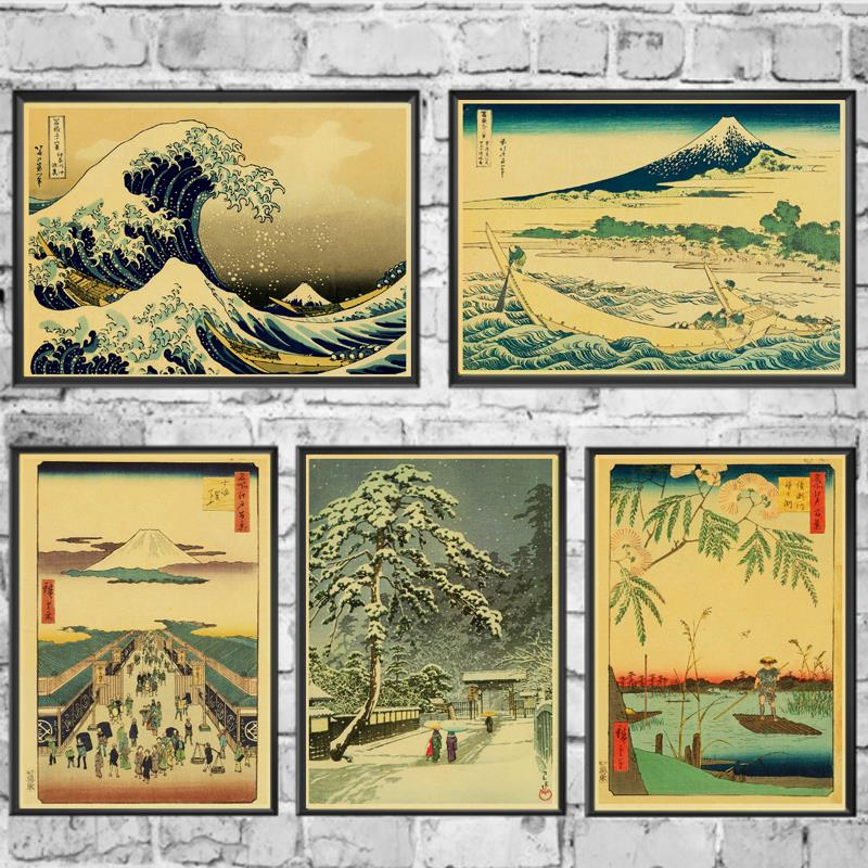 Nostalgia Japanese Old Style Poster Kraft Paper Retro Posters Wall Art Painting Kidsroom Decor Sticker