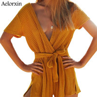 2017 Sexy Deep V Neck Bodysuit Women Summer Fitness Playsuit Female Jumpsuit Rompers Knitted Hot Pants