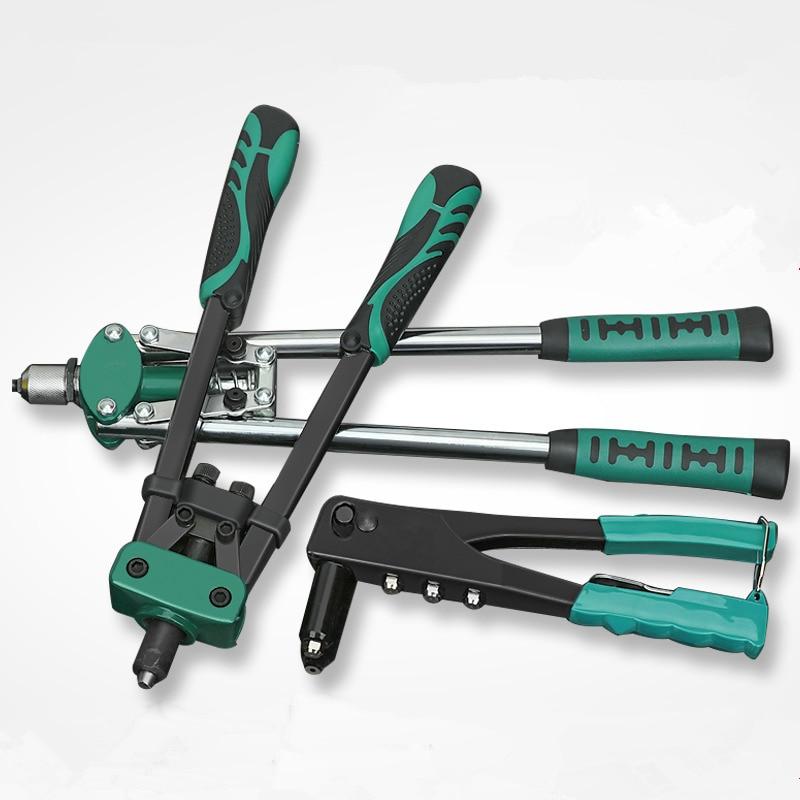 Hand Riveting Kit Nuts Nail Riveter Guns Double Handle Labor-saving Blind Rivet Gun Support Aluminum/Stainless Steel/Steel Nail