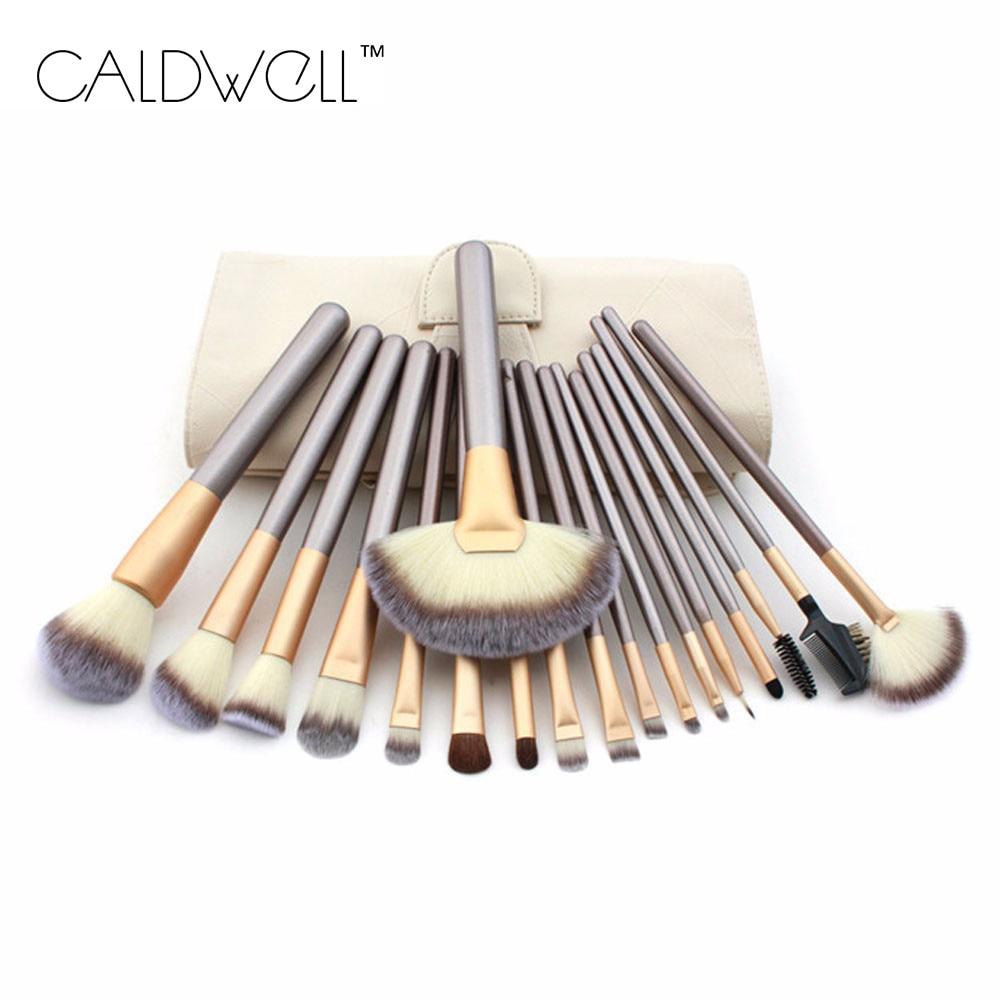 CALDWELL Professional 12/18/24pcs Makeup Brushes Set Cosmetic Foundation Eyeshadow Blush Kits + Leather Bag maquiagem Champagne смазка hi gear hg 5503 универсальная