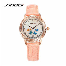 Mujeres del reloj SINOB Marca de Moda de Lujo de Diamantes Mariposa Reloj de pulsera de Cuero Casual Reloj de Cuarzo de Oro Del Reloj Del Relogio Feminino 6566