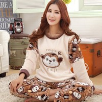 Plus size S 4XL 5XL flannel Pajamas sets winter women thick o neck large lover sleepwear women cartoon coral fleece lounge set
