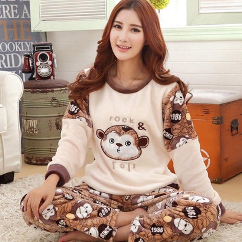 Plus size S-4XL 5XL flannel   Pajamas     sets   winter women thick o-neck large lover sleepwear women cartoon coral fleece lounge   set
