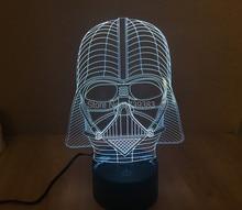 Free Shipping 1 Piece 3D led Mood Lamp Bulb Lighting 3D Star Wars Darth Vader LED little Night Light holiday decoration light valentine star led light of 9 inch holiday lighting and free shipping