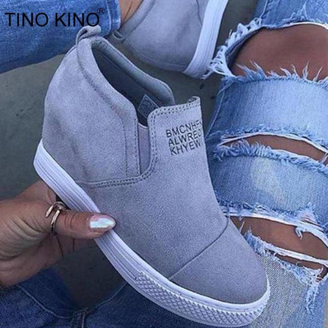 Kadın yarım çizmeler Takozlar Bahar Kadın Yüksek Topuk Platformu Artan Ayakkabı Bayanlar Elastik Bant Moda Rahat Ayakkabı Artı Boyutu