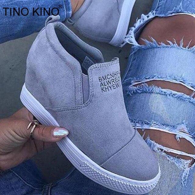 Kadın yarım çizmeler Takozlar Platformu Bahar Kadın Yüksek Topuk Artan Ayakkabı Bayanlar Elastik Bant Moda Rahat Ayakkabı Artı Boyutu