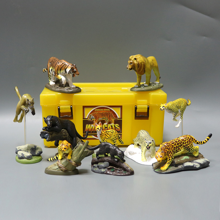 pvc  figure Japanese Animal Models Simulation Toys Wild Cat Tiger Lion Model Doll Doll Toy 10pcs/set simulation baby lion tiger lynx forest wild animals model figurine plastic toys home decoration accessories decor gift for kids