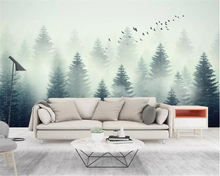 Купить с кэшбэком Beibehang papel de parede Custom wallpaper fashion photo mural stereo Scenic cloud forest flying birds background 3d wallpaper