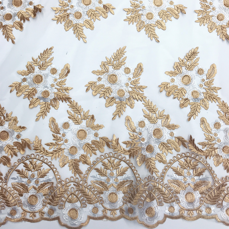 African Lace Fabric 2019 High Quality Lace Nigerian Off White Pink Blue Black Gold And Green Color Cotton Wedding Dress