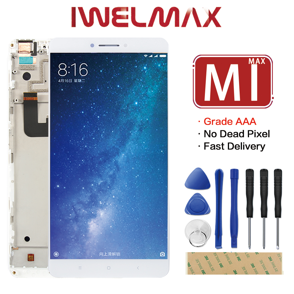 Tested 6.44 For Xiaomi Mi Max LCD Screen Display Touch Screen Digitizer Assembly Panel with Frame Mimax Replacement