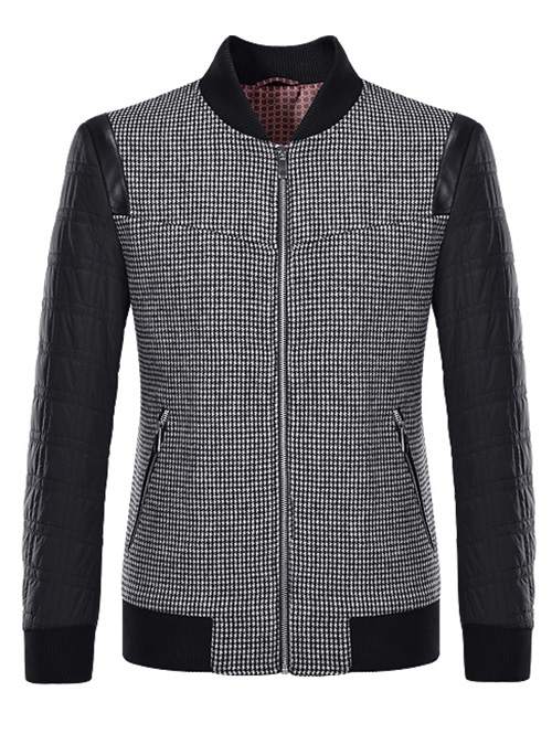 Men Stand Collar Plaid Pattern Splicing Jacket ODM Designer Mens Hoodie 2018 Male Brand  ...