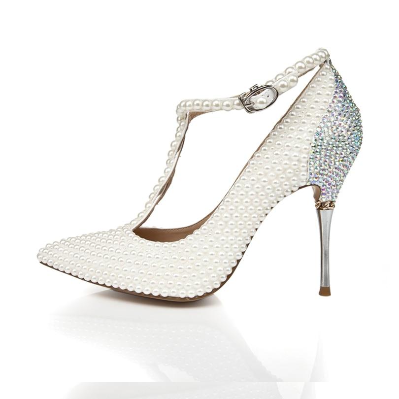 Brilho Sapatos de Casamento Dedo Apontado Elegante Salto Fino Fivela Cinta T Mulher De Salto Alto - 4
