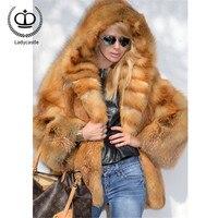 New Real Fox Fur Coat With Hood Winter Thick Full Pelt Real Red Fox Fur Jacket Genuine Overcoat Female Fur Coats Outwear FC 275