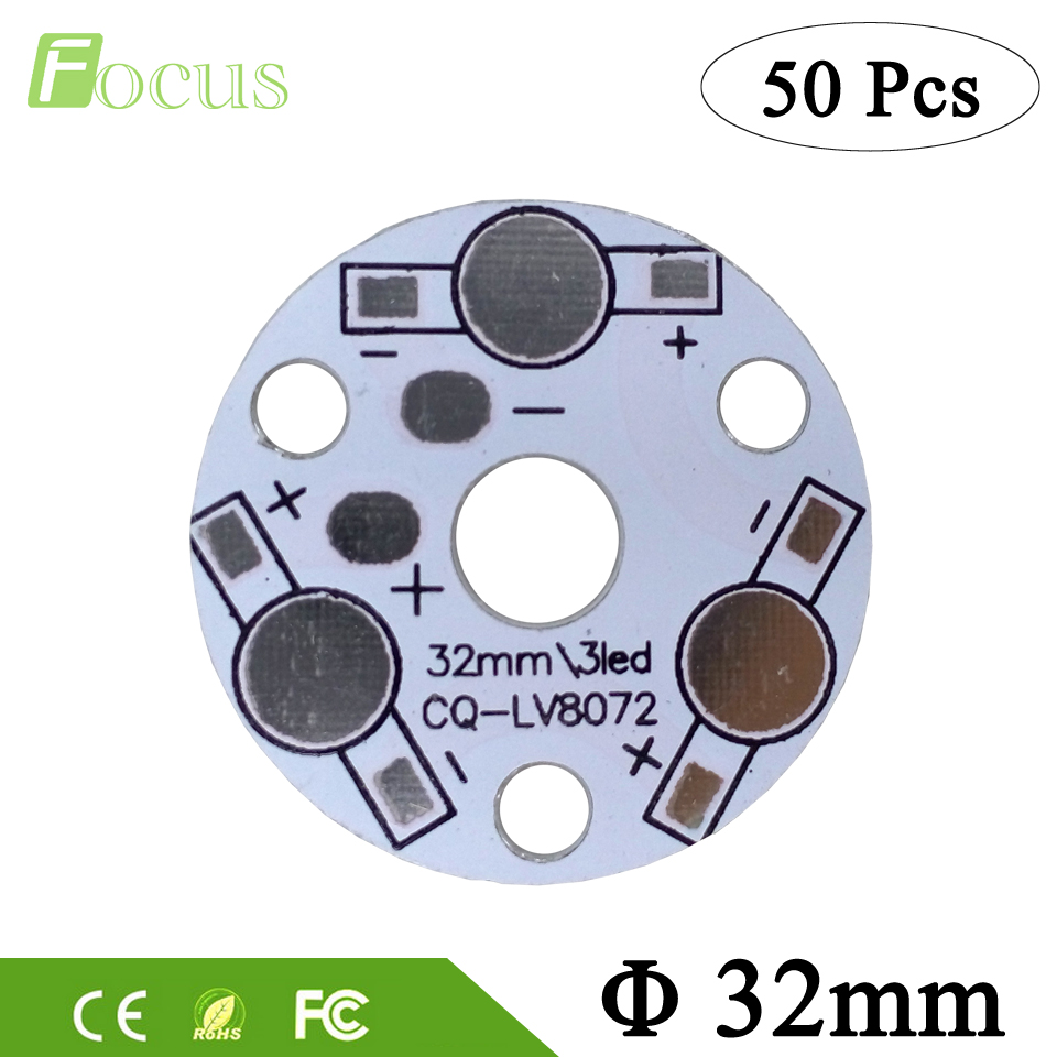 50pcs/lot 3W / 9W Aluminum Plate Round 32mm LED High Power PCB Heat sink Plate Circuit Base Board For 3W / 9W LED Lamp Bulb