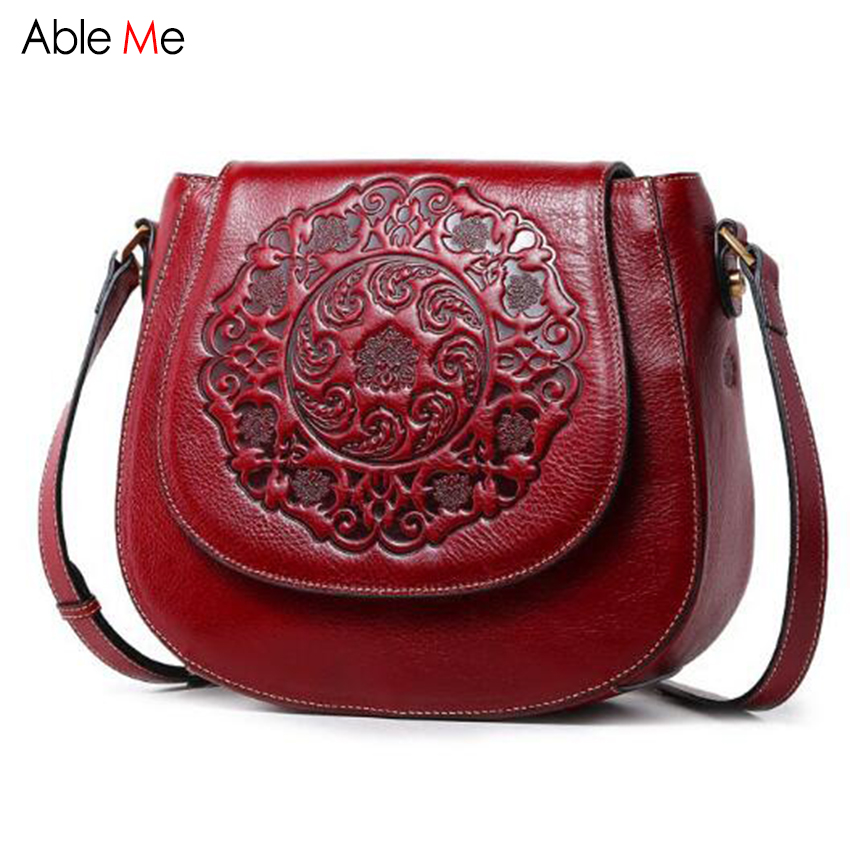 Personality Embossed flower Genuine Leather bags Women small Shoulder bags fashion ladies Retro cover style crossbody Bag female new style fashion genuine leather women bag retro cow leather small shoulder bags top grade all match mini women crossbody bag