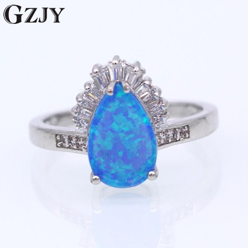 GZJY Beautiful Noble Jewelry Charm Bule Fire Opal Zircon White Gold Color Finger Ring For Women Wedding Party Fashion Jewelry